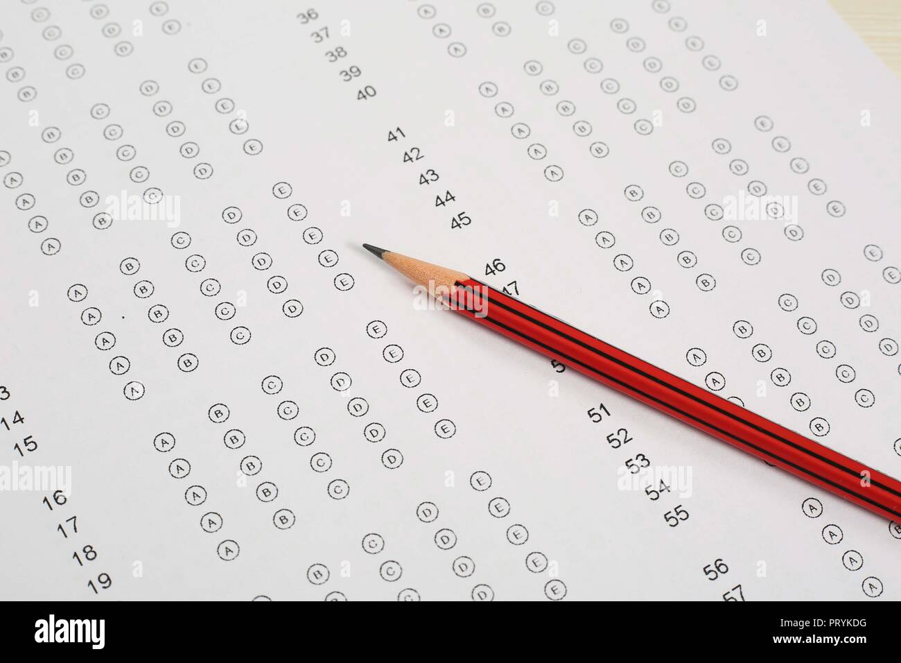 Close up of omr sheet and pencil. - Stock Image