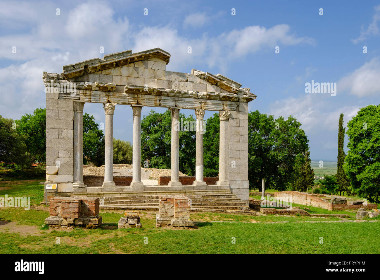 Albania, Fier County, ancient city Apollonia, Portal of Bouleuterion - Stock Image