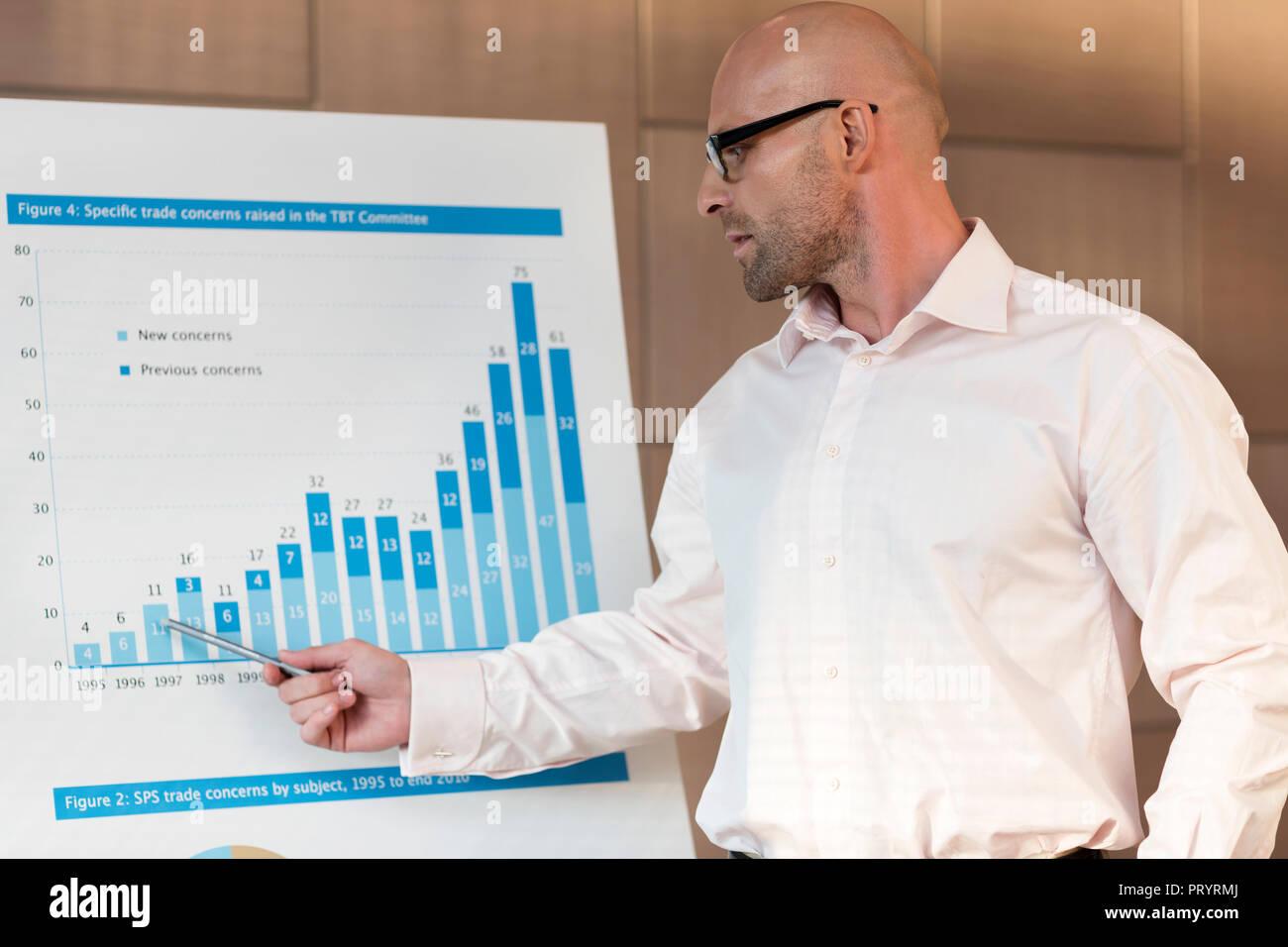 Poland, Warzawa, businessman explaining statistic - Stock Image