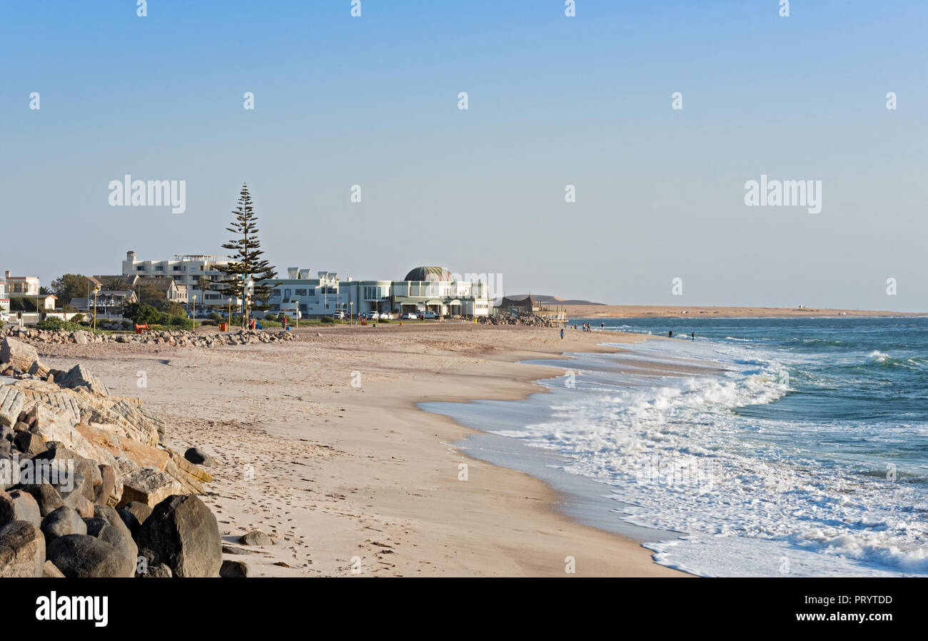 Public beach and holiday apartments in Swakopmund, Namibia. - Stock Image