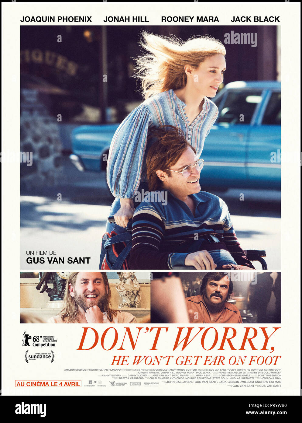 Prod DB © Anonymous Content - Big Indie Pictures - Iconoclast / DR DON'T WORRY, HE WON'T GET FAR ON FOOT de Gus Van Sant 2018 USA affiche française av - Stock Image