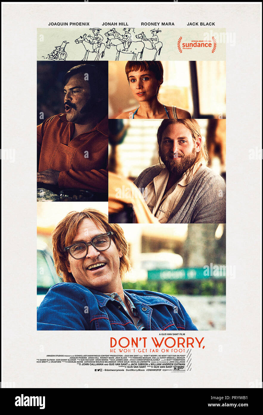 Prod DB © Anonymous Content - Big Indie Pictures - Iconoclast / DR DON'T WORRY, HE WON'T GET FAR ON FOOT de Gus Van Sant 2018 USA affiche americaine a - Stock Image