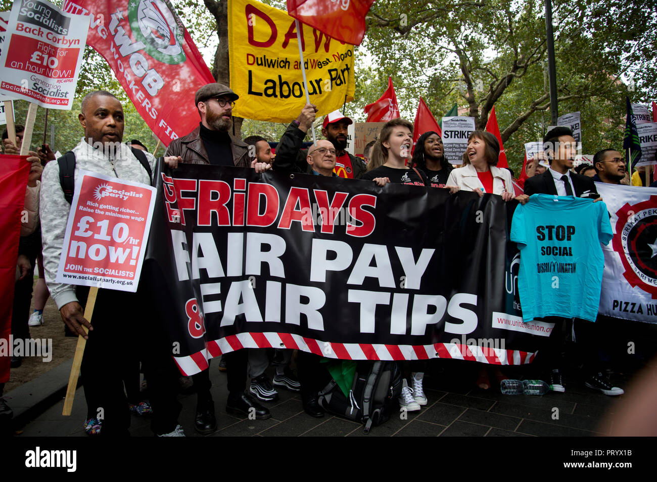 October 4th 2018. Leicester Square, London. Day of action by workers from TGI Fridays, McDonalds Deliveroo and Wetherspoons, supported by TUC and Labo - Stock Image