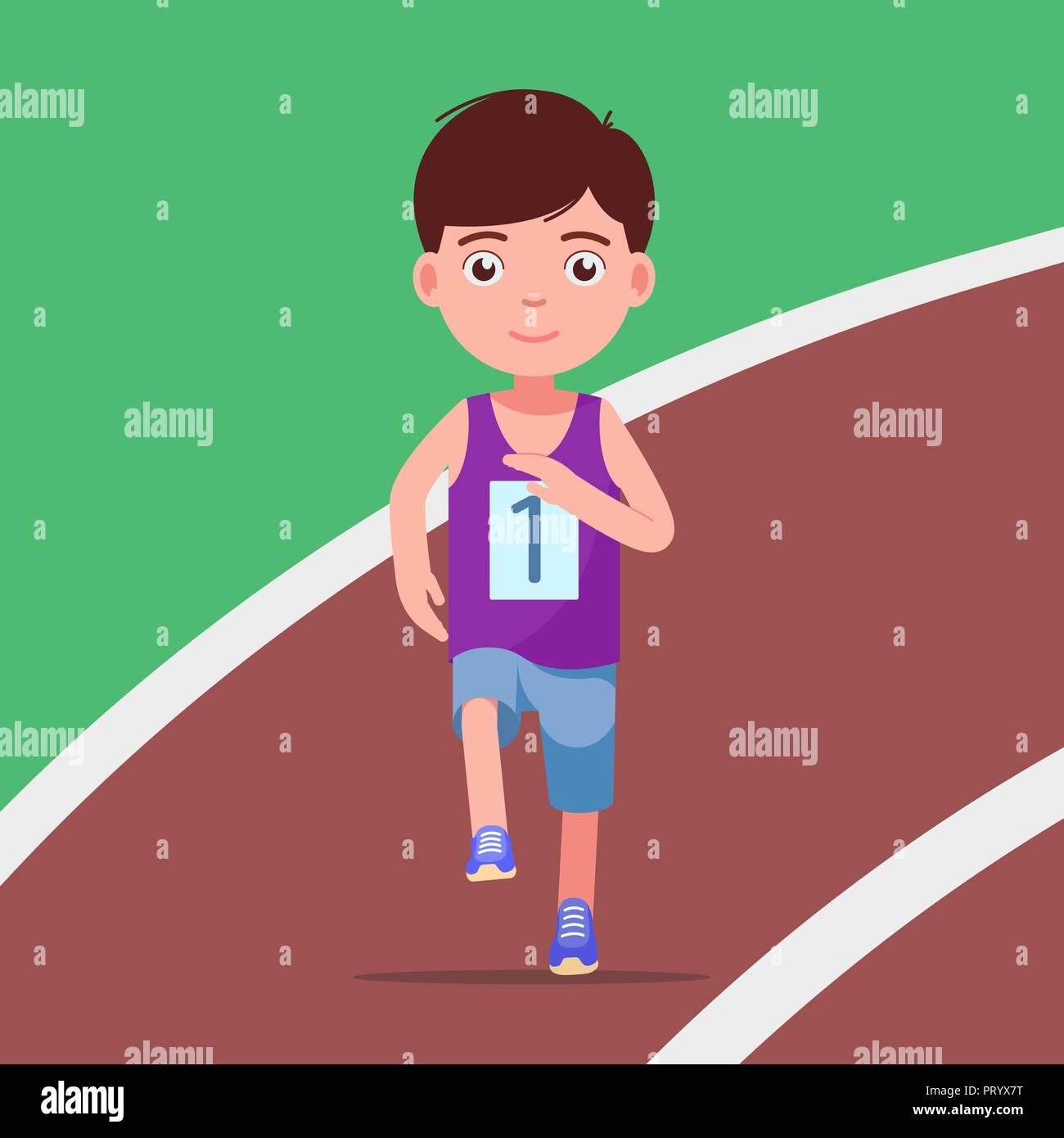 Cartoon boy running a marathon in a stadium - Stock Vector