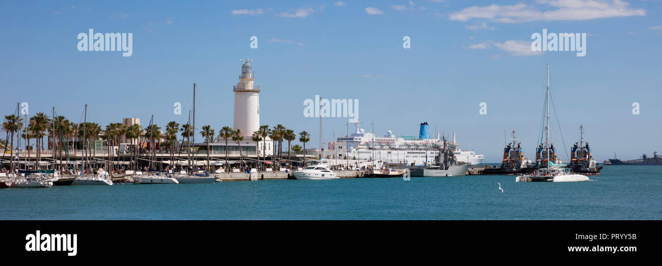 Spain, Andalusia, Malaga, Panoramic view of harbour, lighthouse La Farola de Malaga Stock Photo