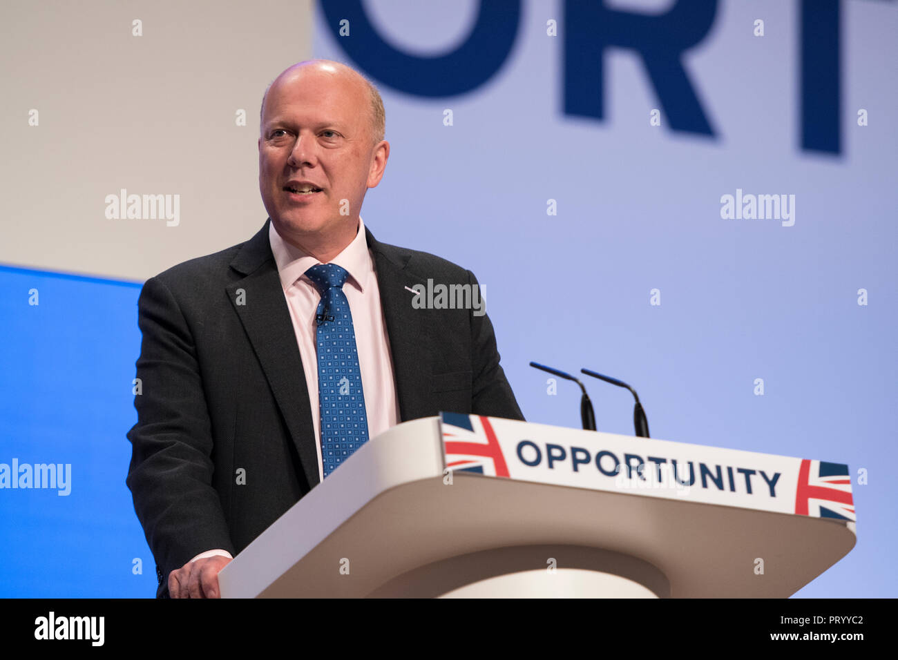 1 October 2018 - Transport Secretary Chris Grayling speech at Conservative Party Conference 2018. - Stock Image