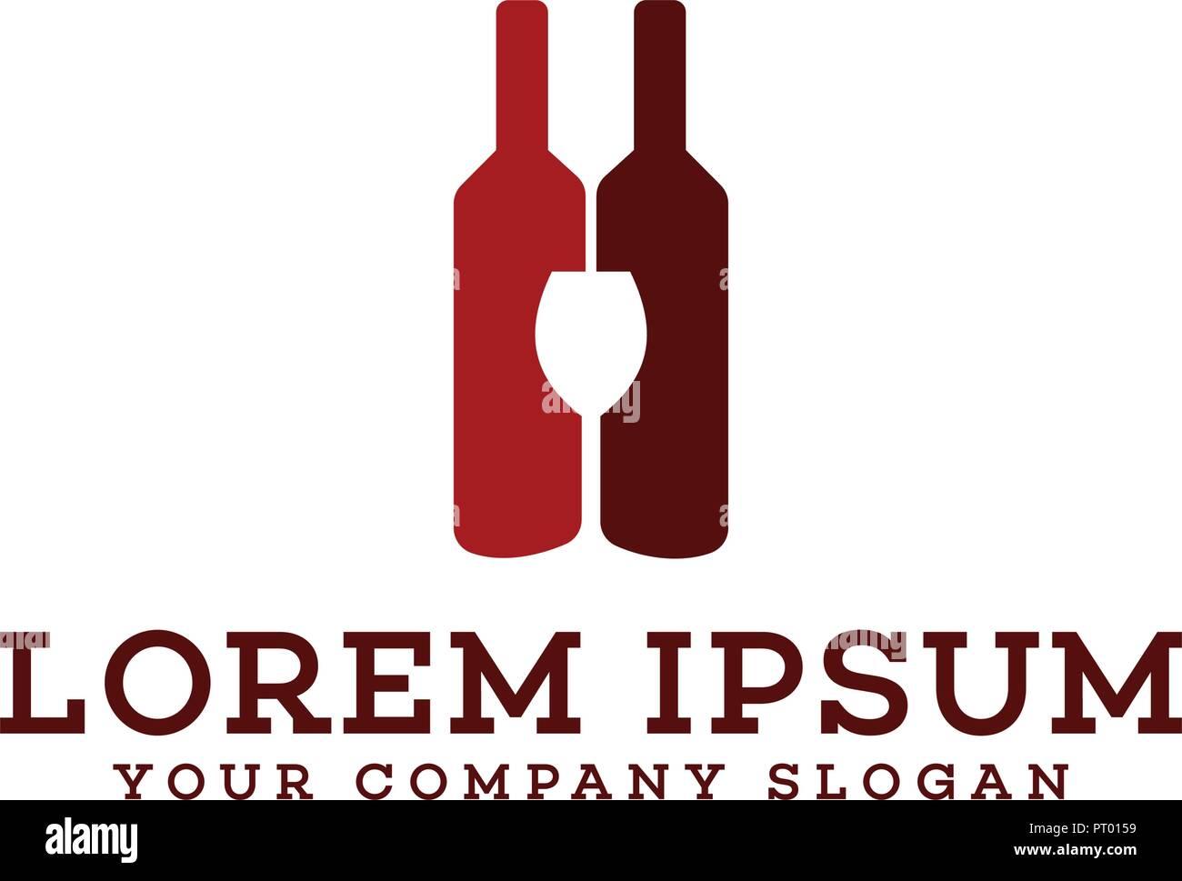 wine bottle and glass logo bar nightclub logo design concept