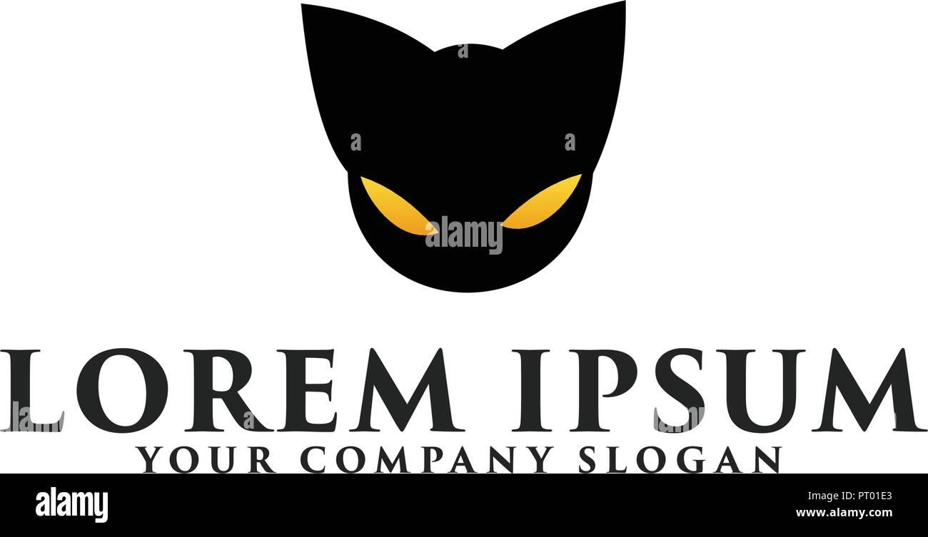 Head Black Cat Logo Design Concept Template Stock Vector Art