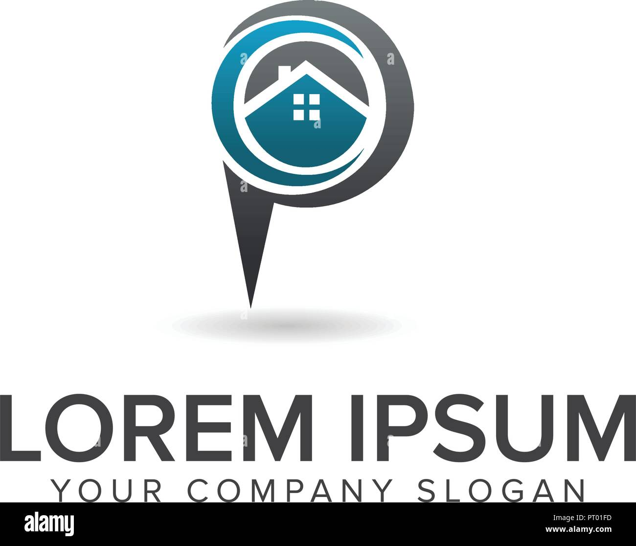 House Location Logo Real Estate Logo Design Concept Template Stock