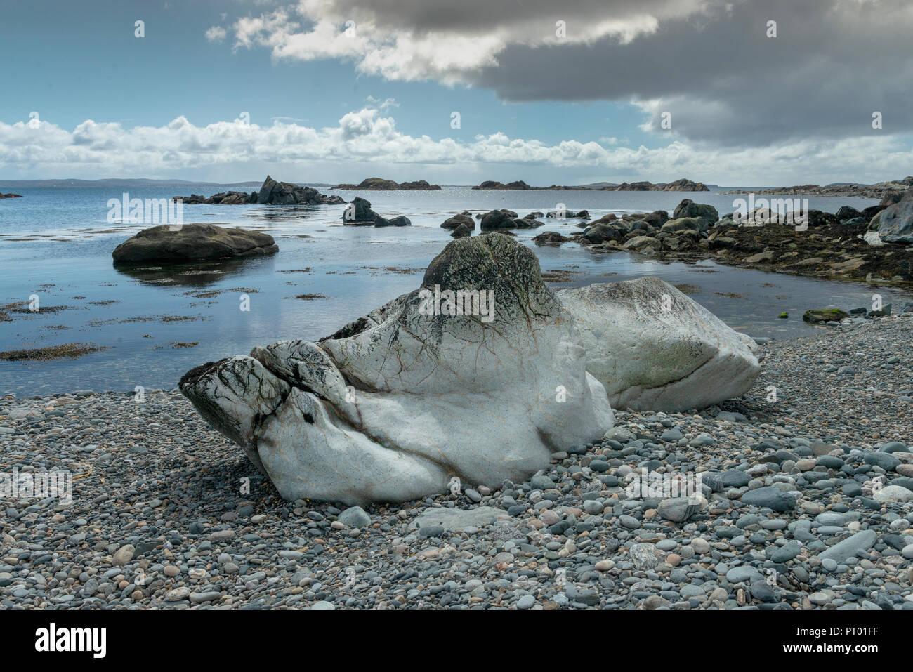Ireland, Inish Boffin Island, Co Galway, Strange Rock formation on beach. - Stock Image
