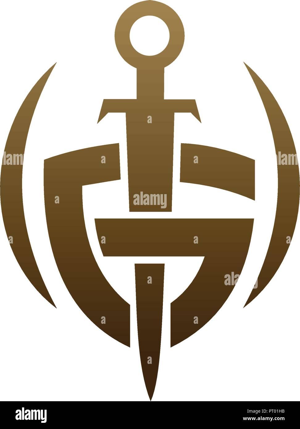 letter g shield sword logo security logo design concept template