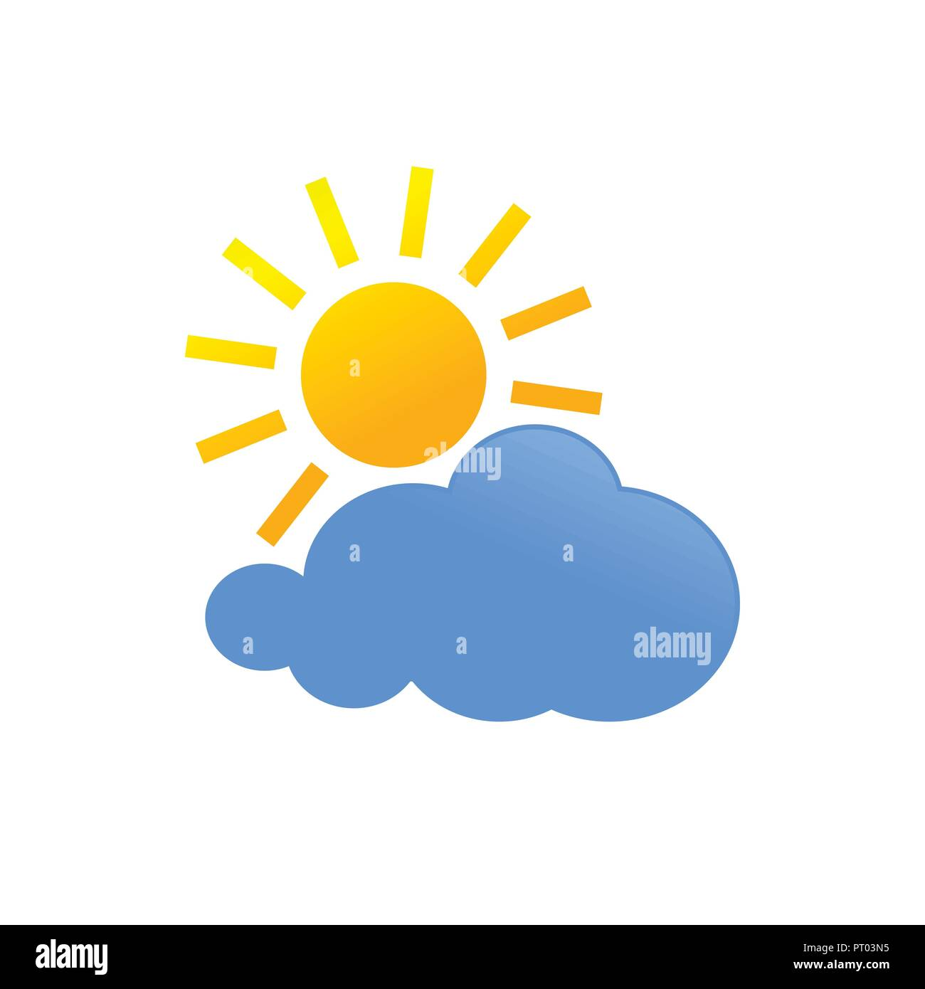 Sunny Cloud Daylight Weather Forecast Vector Icon Symbol Graphic Logo Design Template - Stock Vector