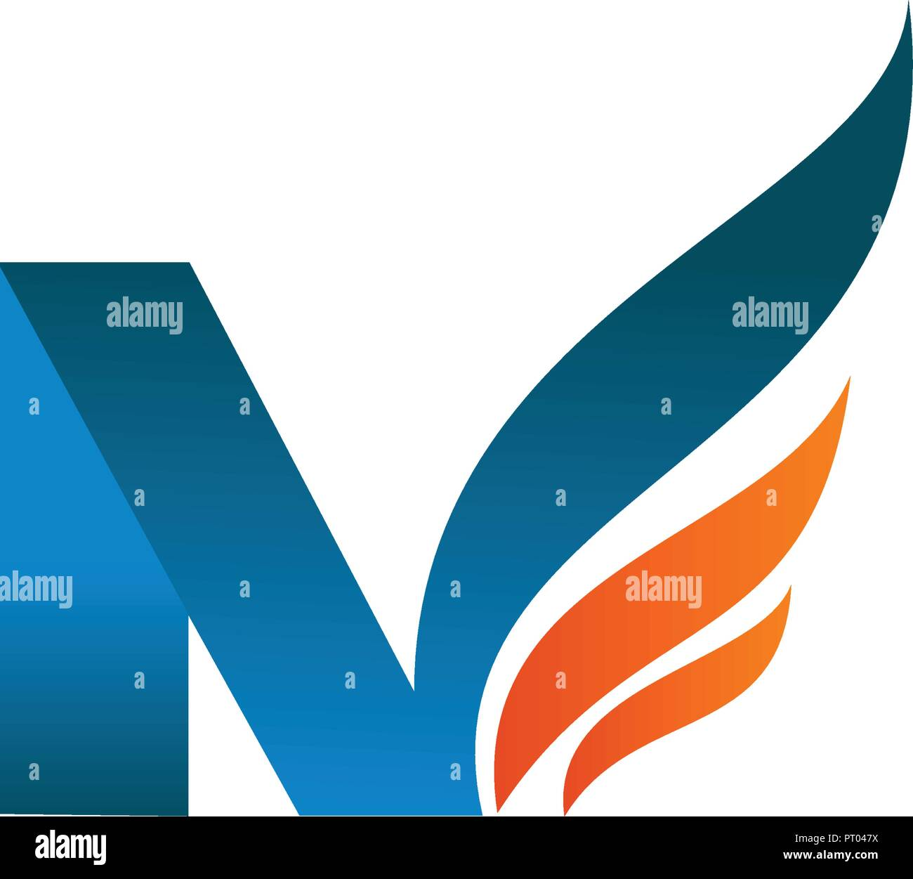 letter n wings logo design concept template