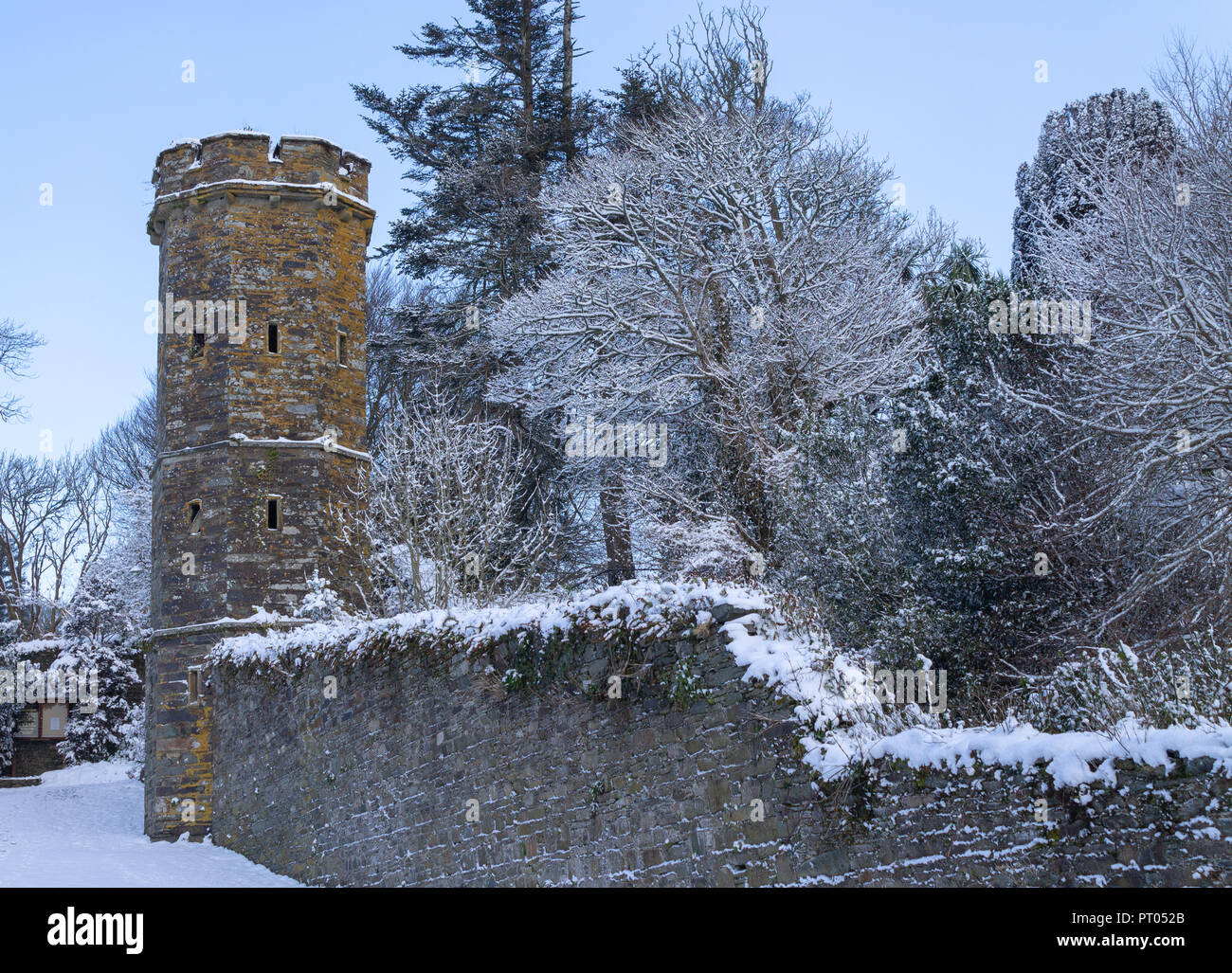 ice and snow covering branches and a stone tower in a bleak winter scene in west cork ireland - Stock Image