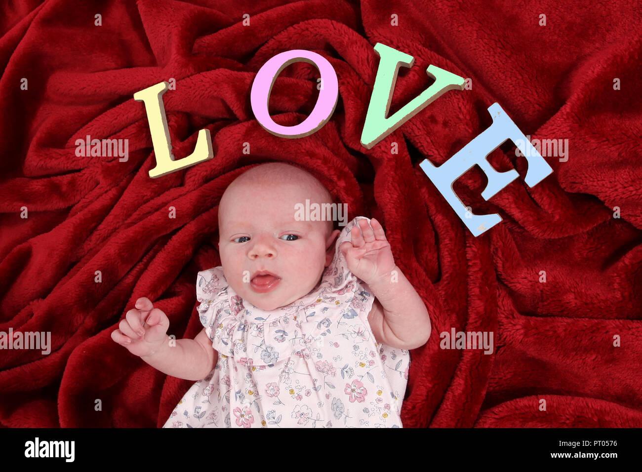new born baby girl - Stock Image