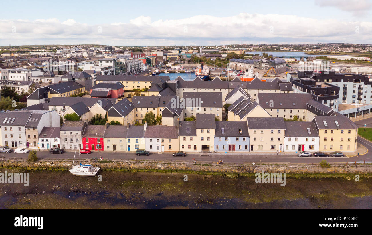 An aerial view across the River Corrib, towards the street known as The Long Walk in Galway, Ireland. - Stock Image