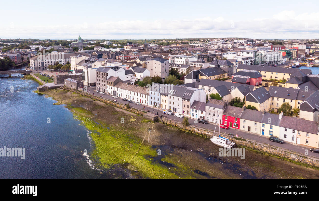 An aerial view across the River Corrib, towards the street known as The Long Walk in Galway, Ireland. Stock Photo