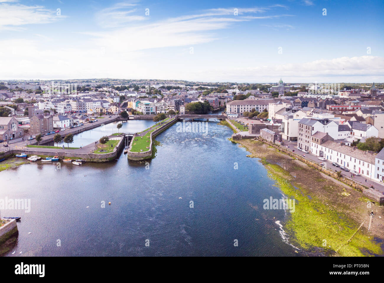 An aerial view of the River Corrib, the Claddagh Basin and the street known as The Long Walk in Galway, Ireland. - Stock Image