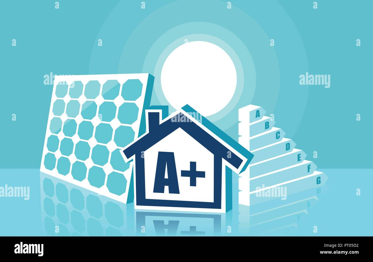 Graphic illustration of modern house with solar panels installed and symbol A for rating - Stock Vector