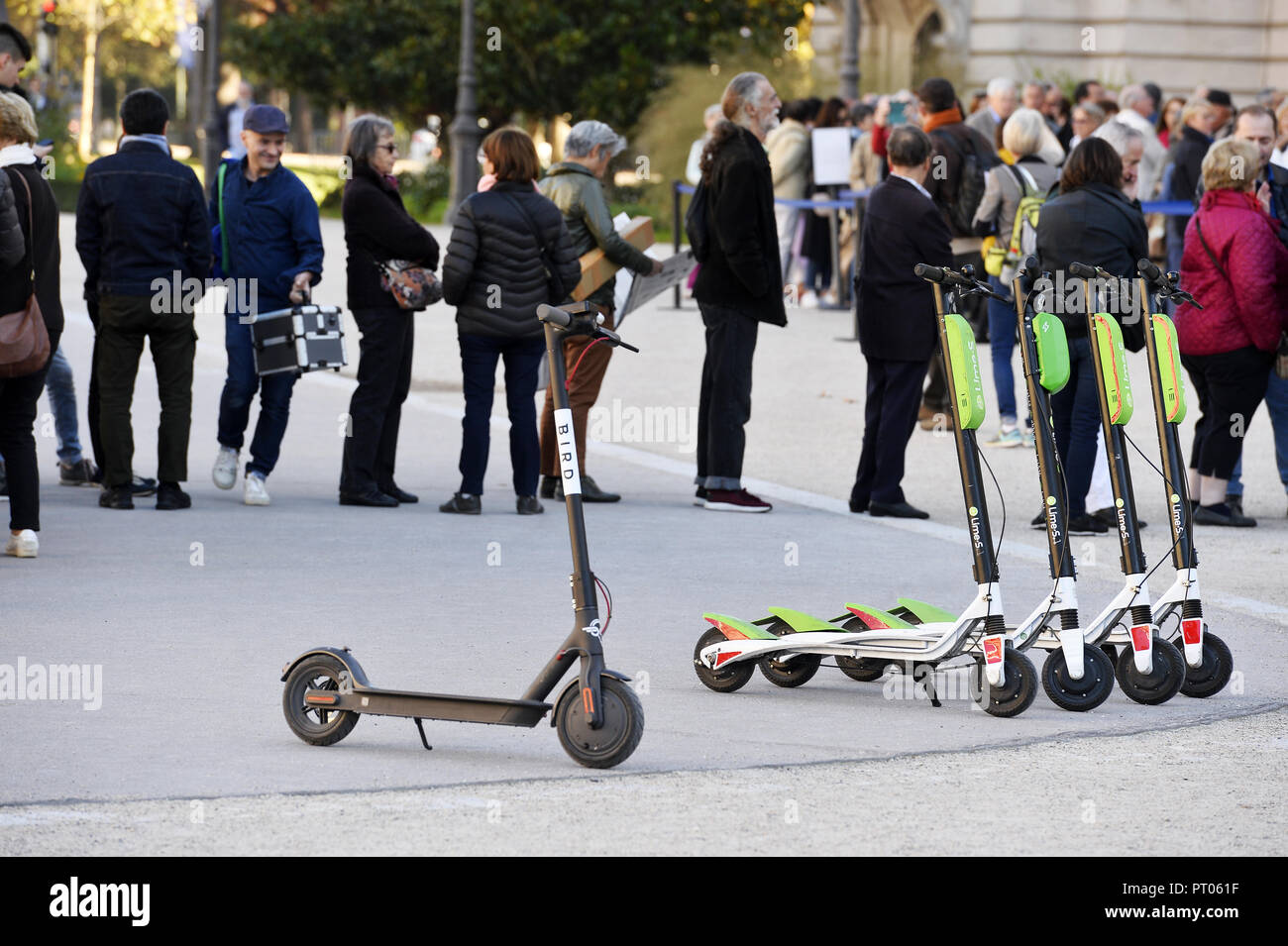 Lime's Scooter - Paris - France - Stock Image