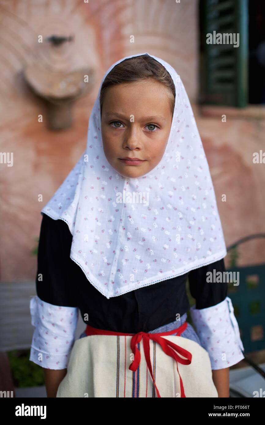 Mallorca village girl dressed for fiesta, La Beata Festival, Valldemossa, Mallorca Stock Photo