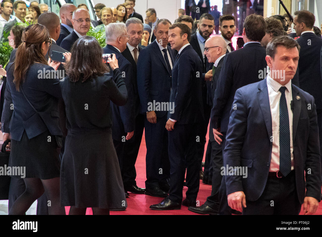 PARIS - OCT 3, 2018: President of France Emmanuel Macron visiting the Paris Motor Show 2018 edition. - Stock Image