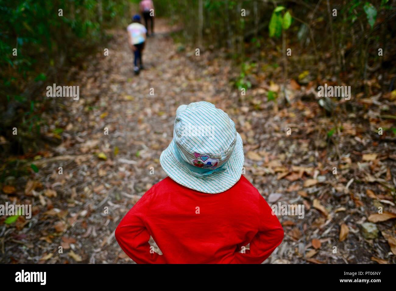 Kids walking through the woods, Dalrymple gap, QLD, Australia Stock Photo