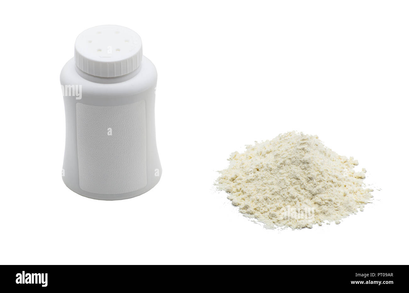 Talcum powder, next to is the white container, isolated on a white background with a clipping path. - Stock Image