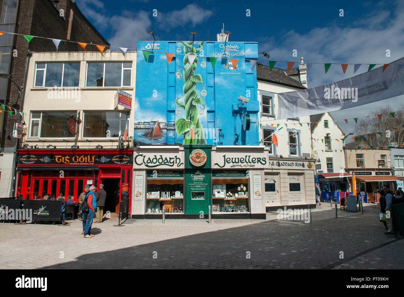 Galway City, Ireland, Business shop fronts. - Stock Image