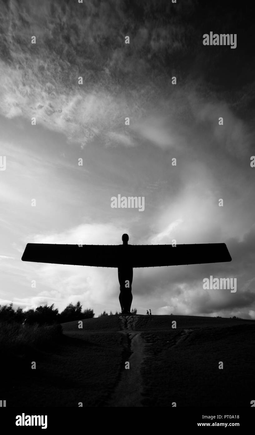 The Angel of the North statue in black and white. The iconic sculpture in Gateshead, Tyneside, near Newcastle. - Stock Image