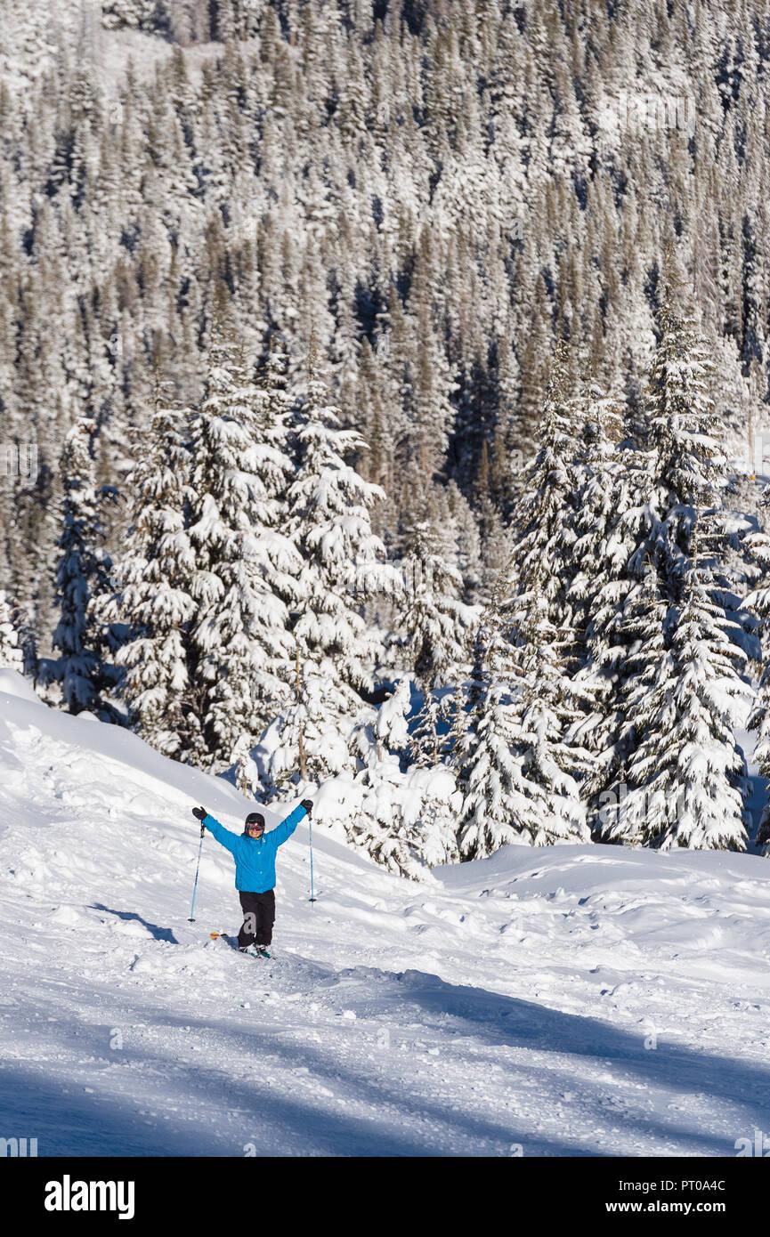 Fresh snowfall at Mt. Rose Ski Tahoe, the closest ski resort to Reno, Nevada in the mountains surrounding Lake Tahoe. Stock Photo