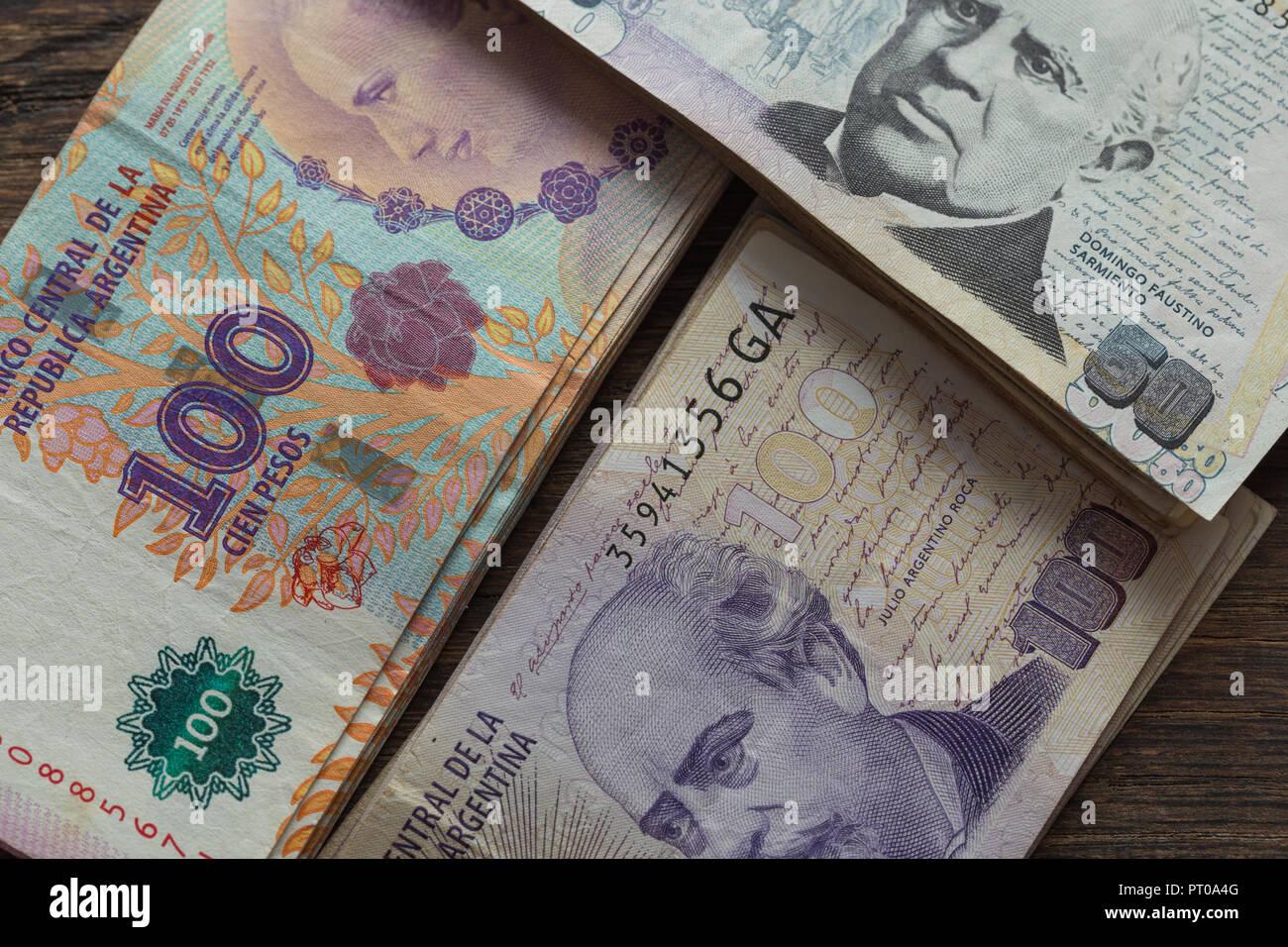 Argentine money, pesos, high denominations - Stock Image