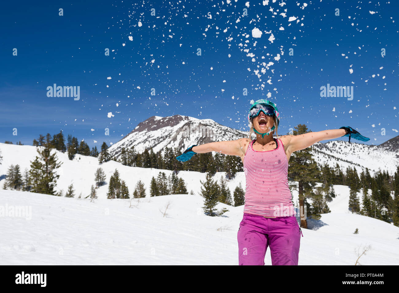 Young woman playing in snow during spring skiing at Mt. Rose Ski Tahoe, the closest Lake Tahoe ski area to Reno, Nevada. - Stock Image