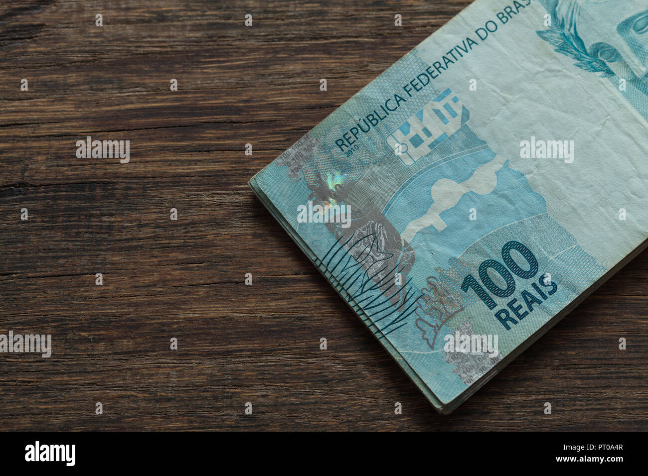 Brazilian money, reais, high denominations Stock Photo