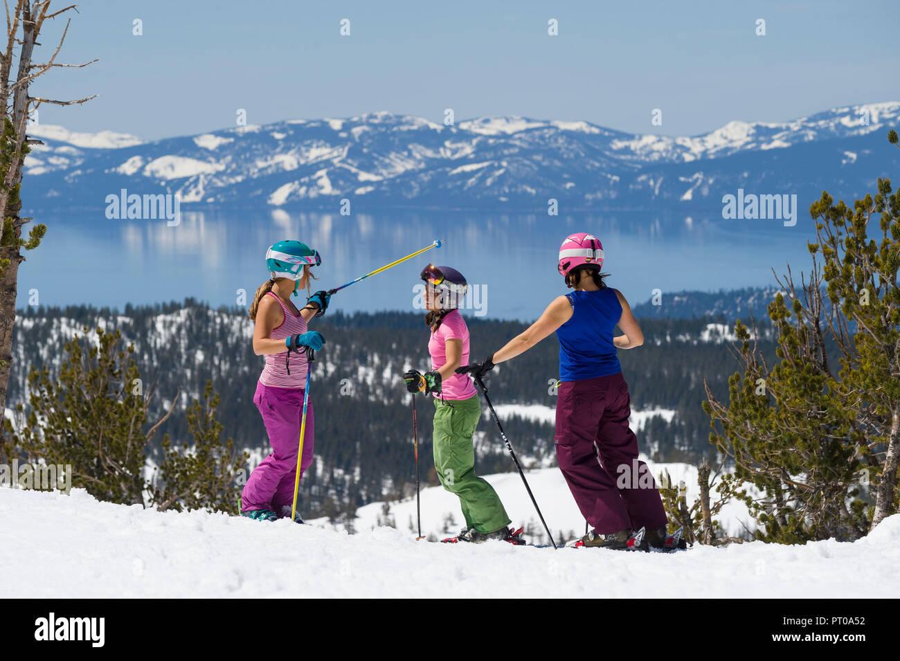 Spring Skiing at Mt. Rose Ski Tahoe, the closest Lake Tahoe ski area to Reno, Nevada. Stock Photo
