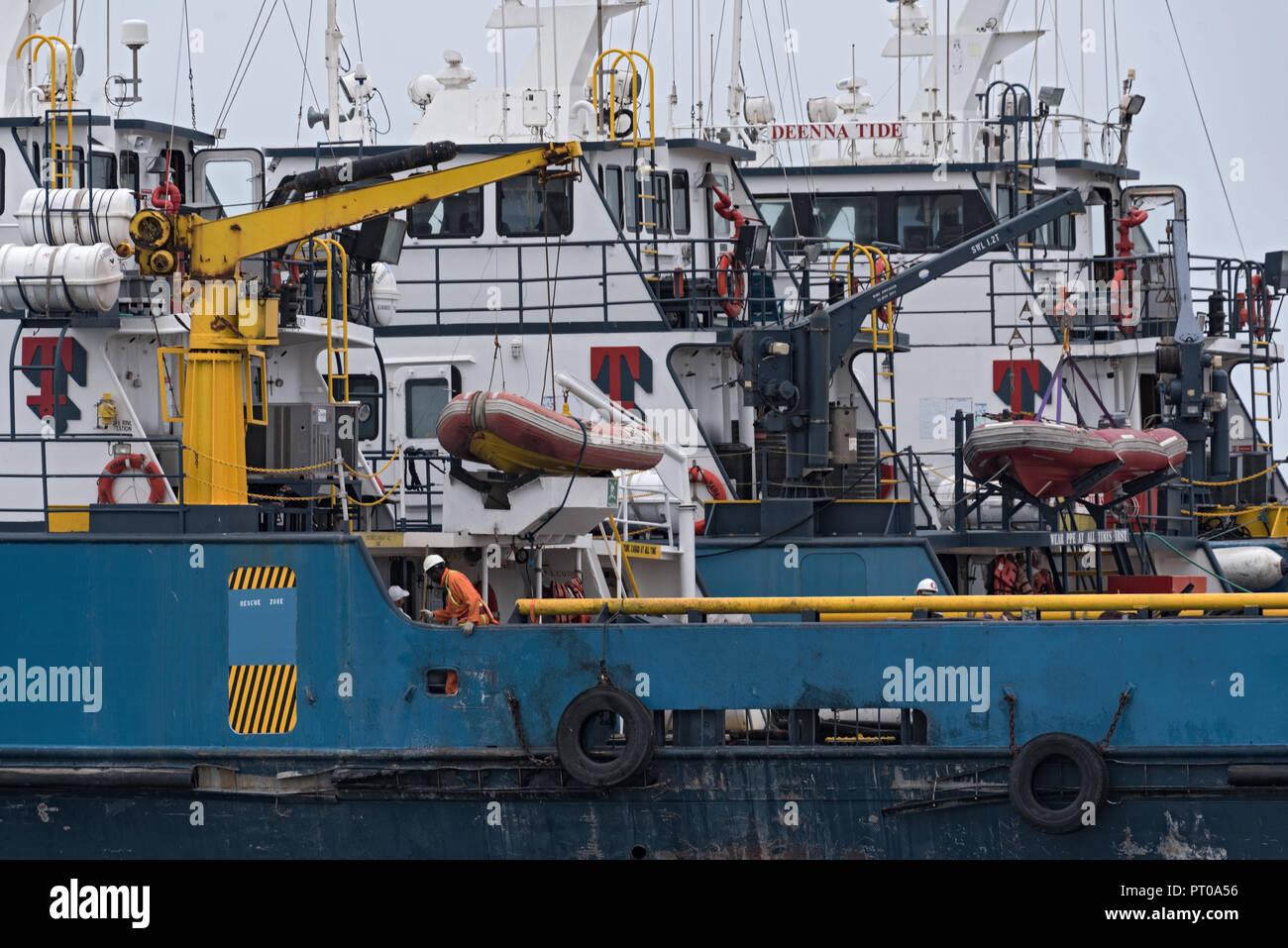vessels in the atlantic harbor of walvis bay, namibia. - Stock Image