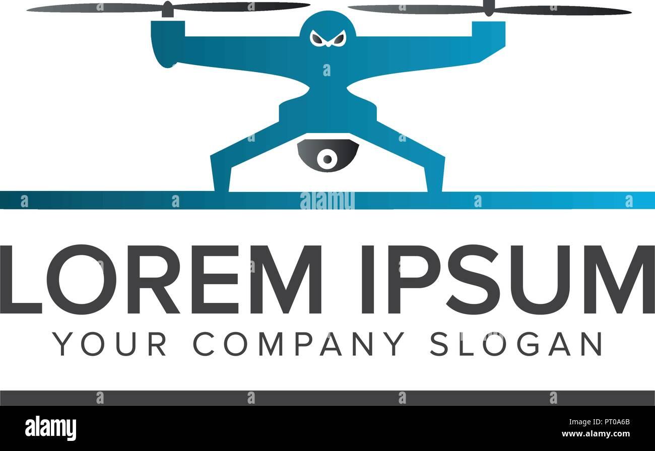 drone logo. tech camera logo design concept template - Stock Image