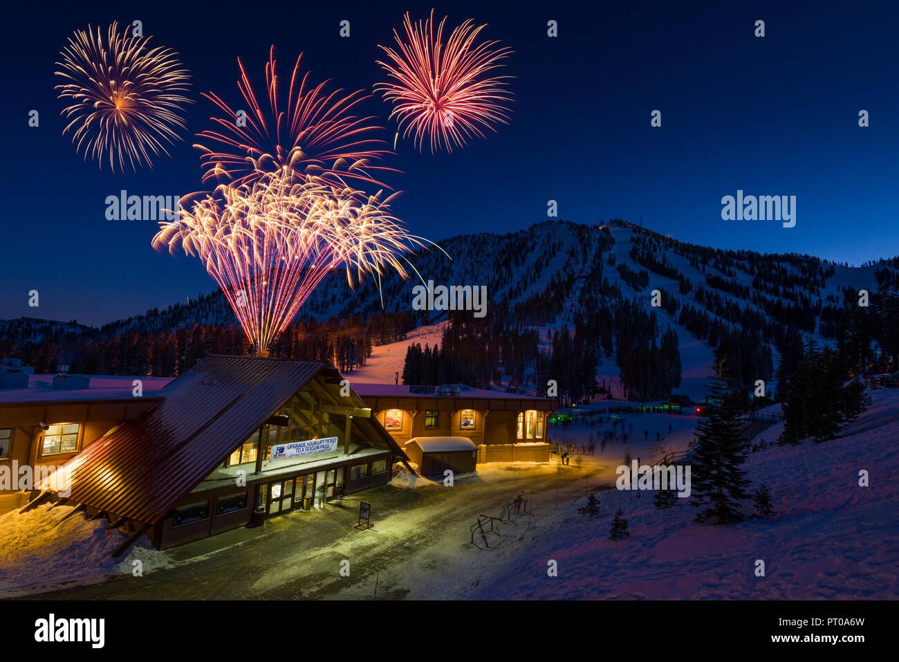 2014 New Year's eve fireworks at mt rose ski tahoe ski resort near Reno, Nev., Dec. 31, 2014.(Scott Sady/TahoeLight.com) Stock Photo