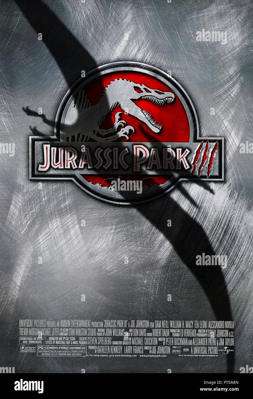 Jurassic Park III (2001) directed by Joe Johnston and starring Sam Neill, William H. Macy, Téa Leoni and Laura Dern. A wealthy couple persude Dr. Alan Grant to conduct an aerial tour of Isla Sorna but in reality need help to find their son. - Stock Image