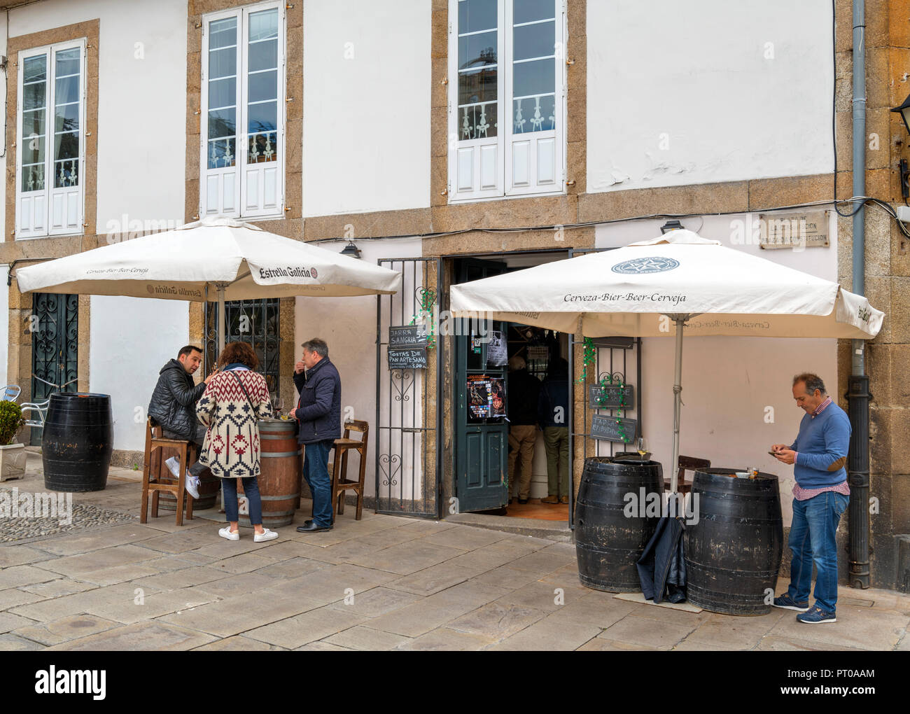 Typical local bar in Plaza de la Constitucion (Praza da Constitucion), A Coruna, Galicia, Spain - Stock Image
