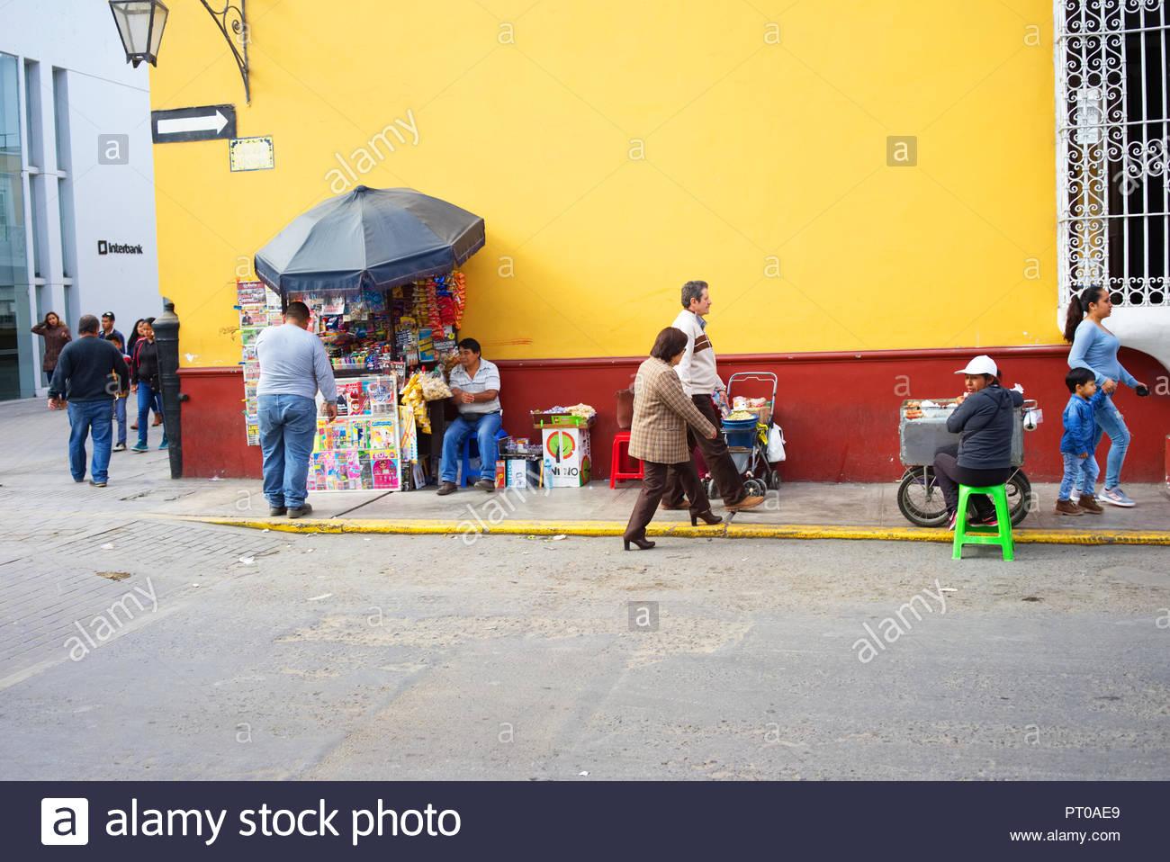 street seller in Trujillo Peru - Stock Image