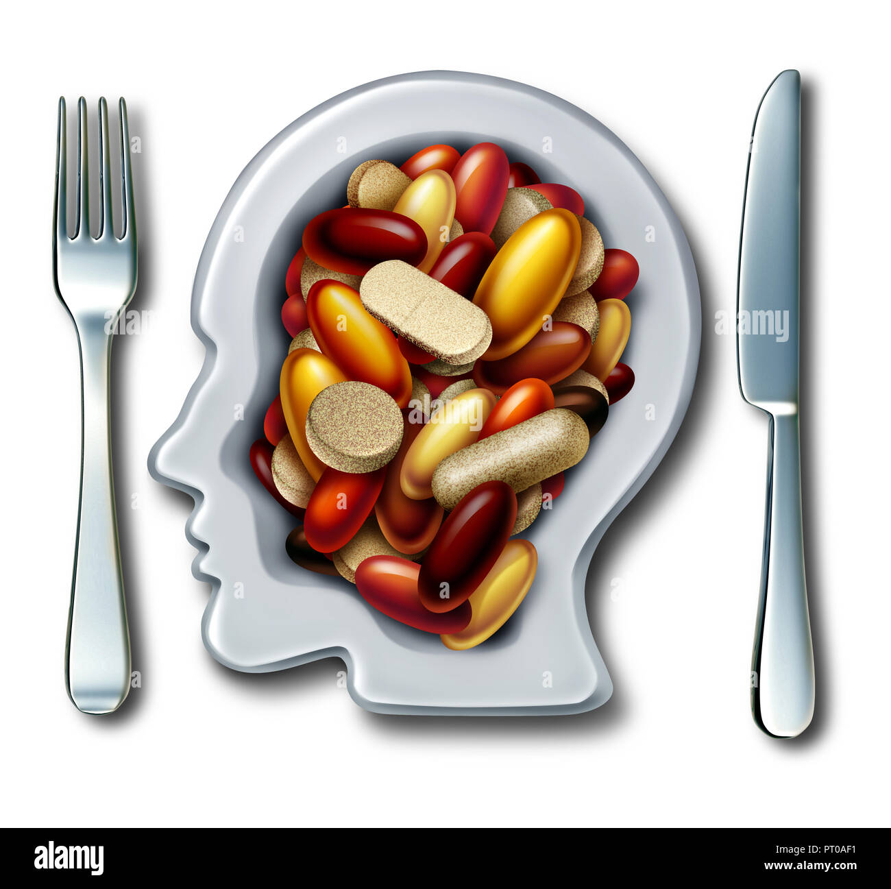 Health supplements and vitamin supplement as a plate shaped as a human with a group of capsule and pills as a natural nutrient medicine and dietary. - Stock Image