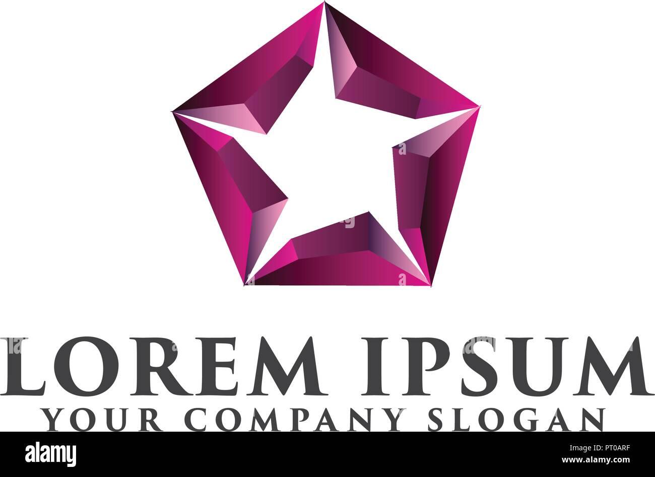 star hexagon logo design concept template - Stock Vector