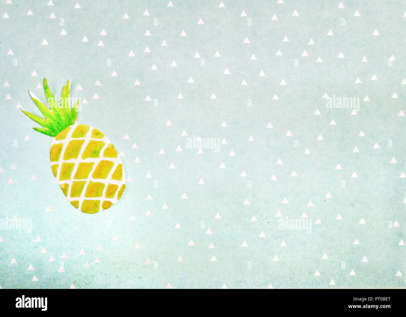 Watercolor, pineapple, background, triangles - Stock Image