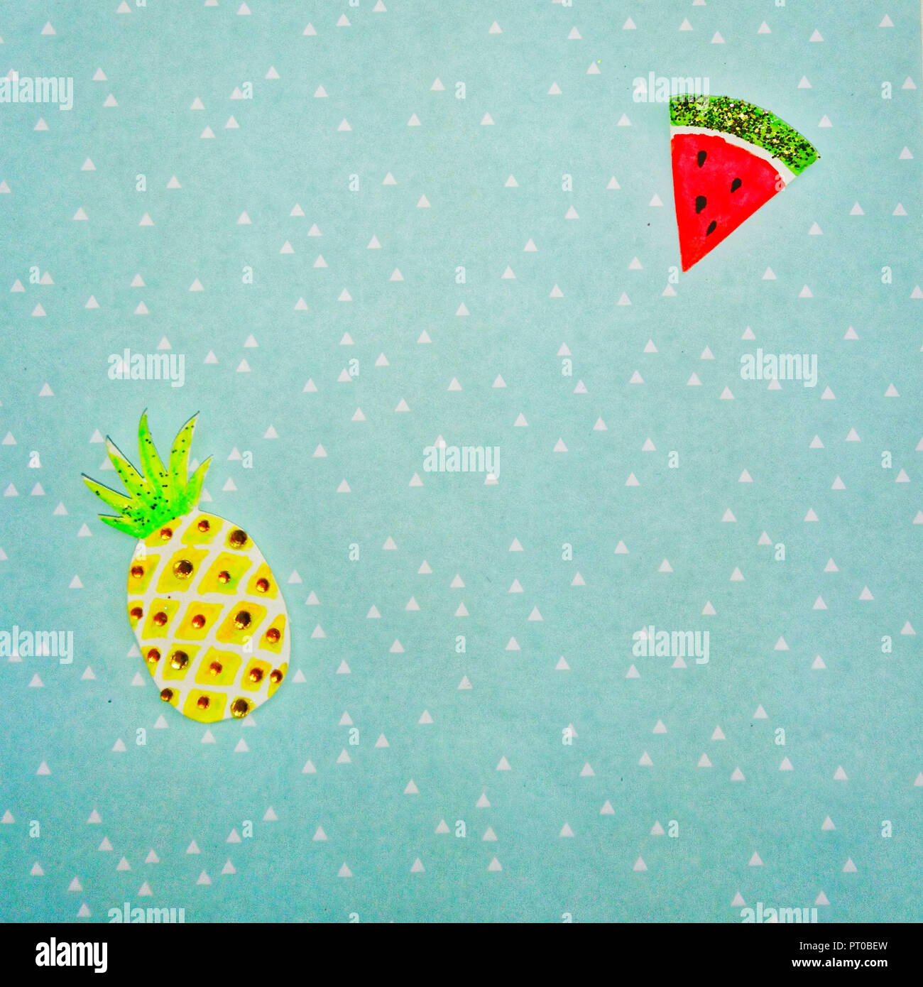 Watercolor, pineapple, melon, background, triangles - Stock Image