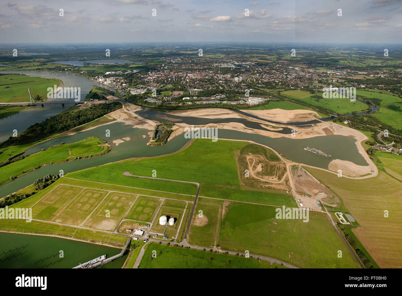 Aerial view, Lippe, Lippe mouth, reconstruction, renewal, meander, Wesel port, Rhine, Rhine bridge, Wesel, Ruhr area, Lower Rhine, North Rhine-Westphalia, Germany, Europe - Stock Image