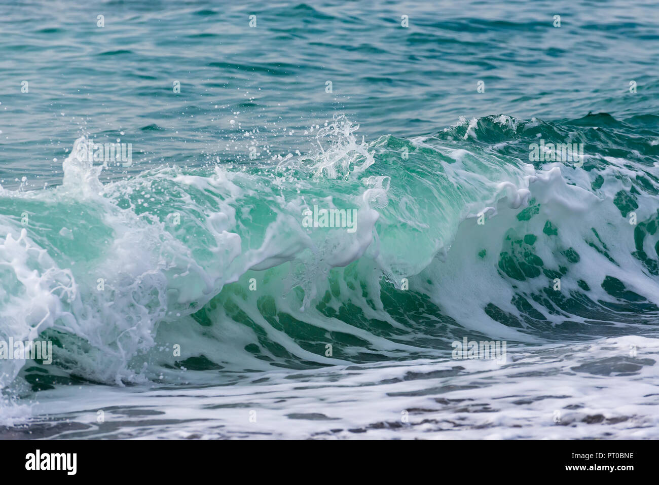 Autumn storm in Sochi. Big waves near the embankment. Stormy autumn black sea. Raging Black Sea. Big wave closeup Stock Photo
