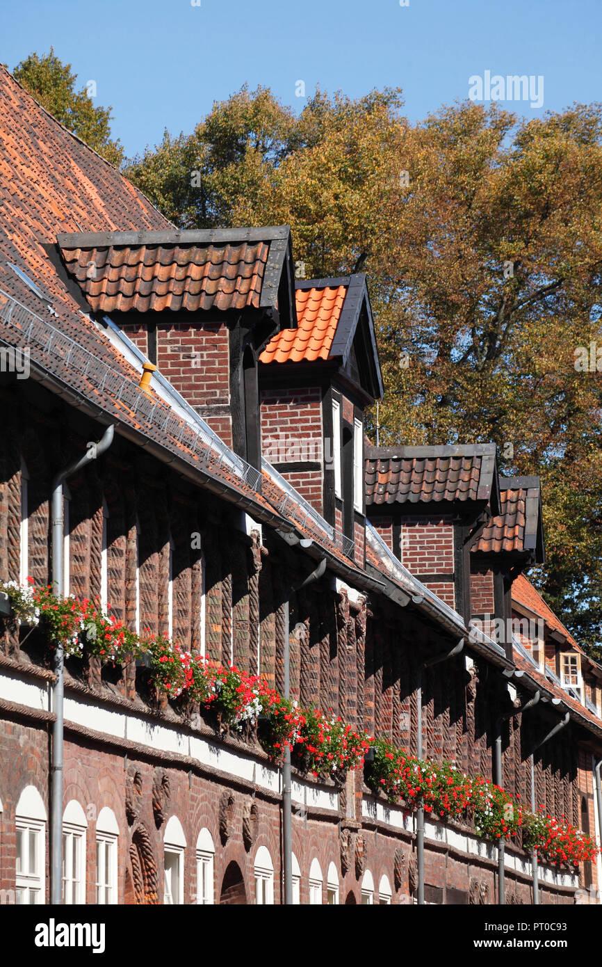 Garlopenhäuser, former homes for the horseriding servants of the town Lüneburg, old town, Lüneburg, Lower Saxony, Germany, Europe - Stock Image