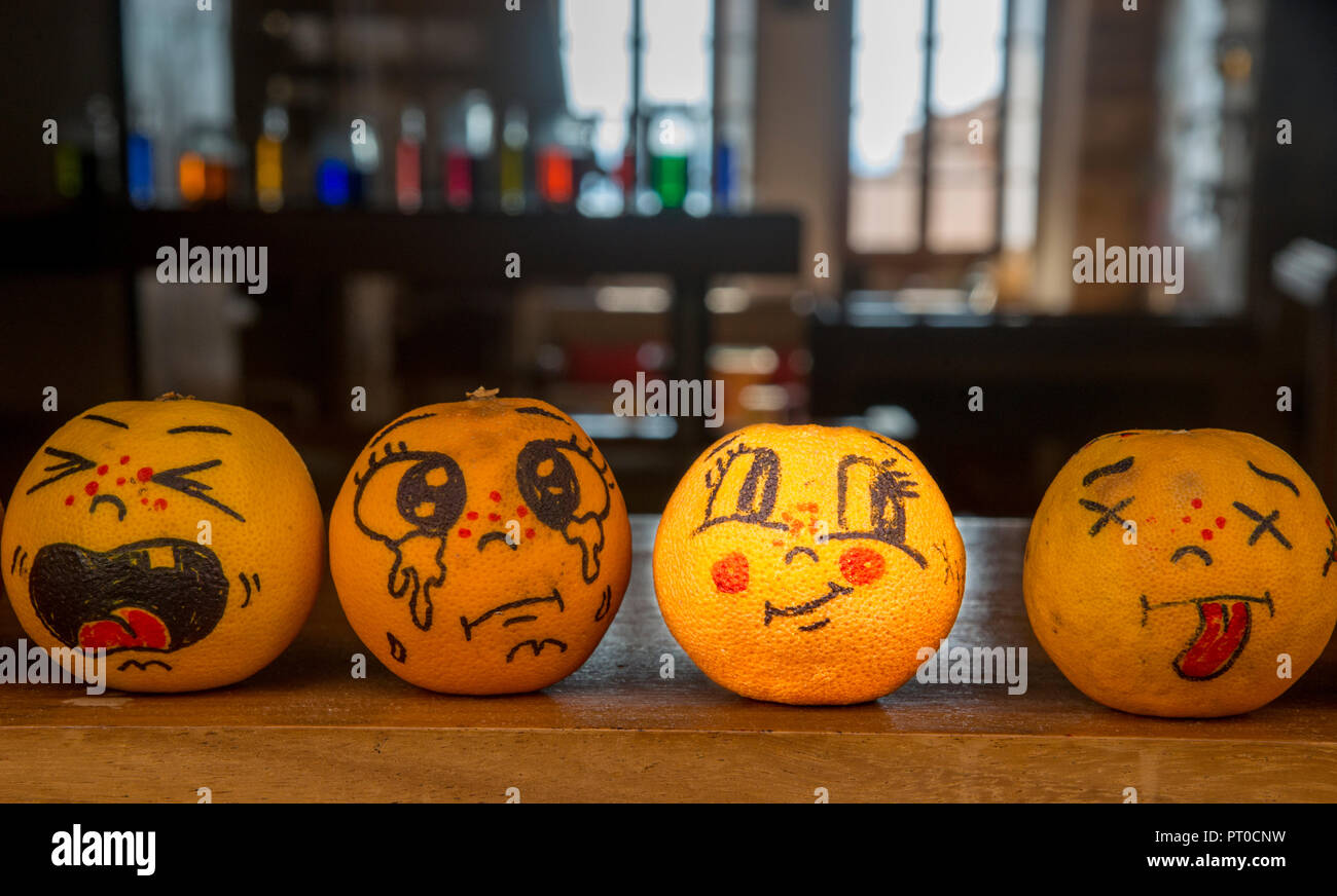 Oranges with painted feelings - Stock Image