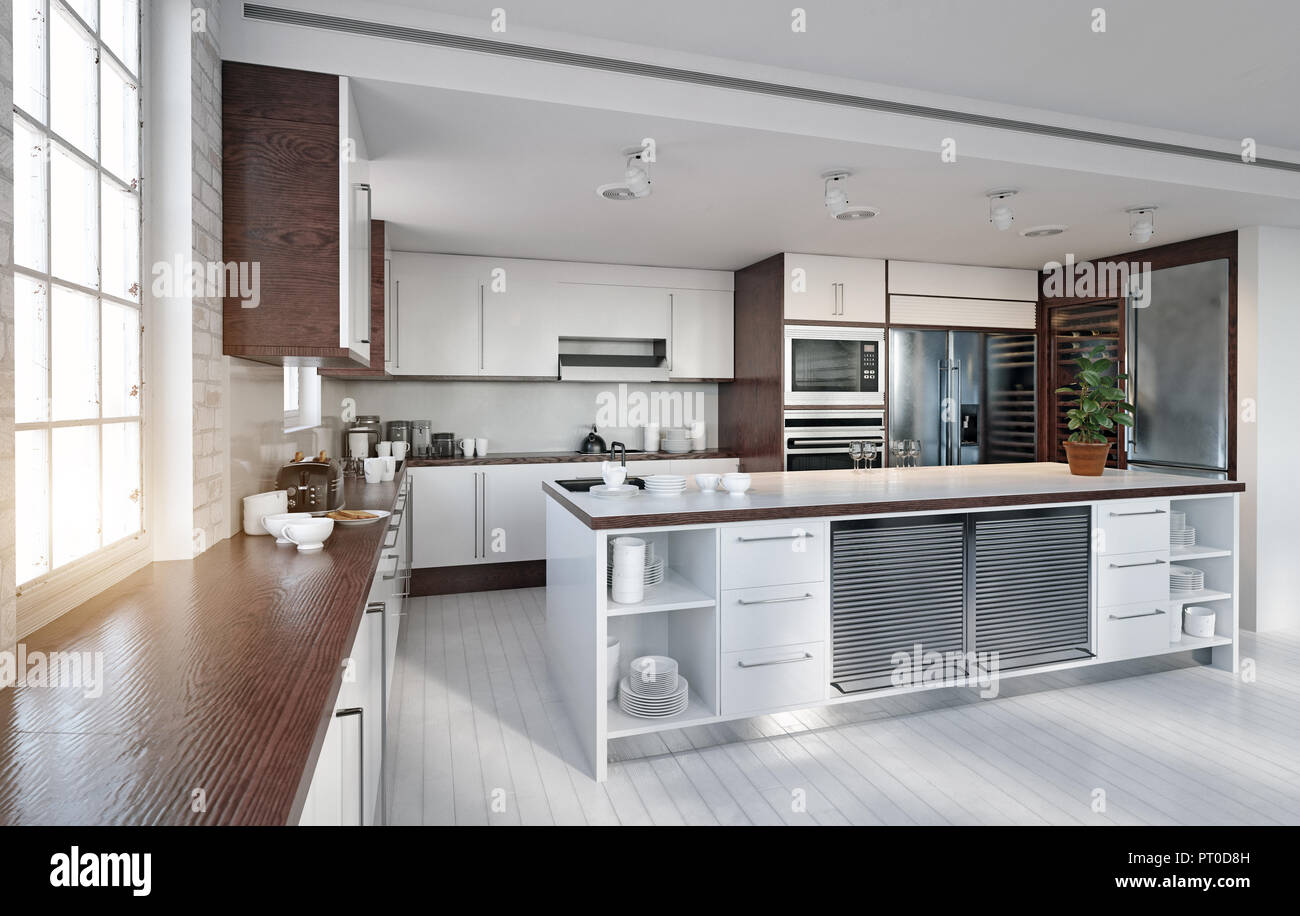 Modern Kitchen Interior 3d Rendering Design Concept Stock